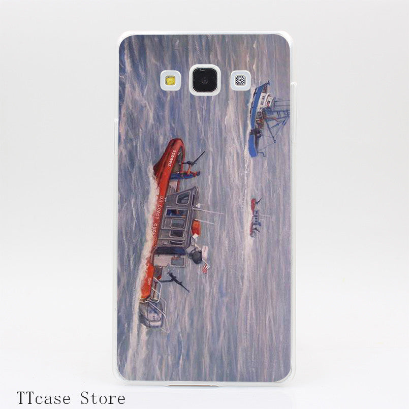 Coast Guard In Pursuit Transparent Hard Cover Case for Galaxy A3 A5 A7 A8 Note 2 3 4 5 J5 J7 Grand 2 & Prime