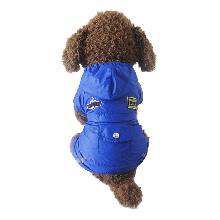 Pet Puppy Cat Air Force Blue Clothes Waterproof Lining Layer Mesh Winter Raincoat