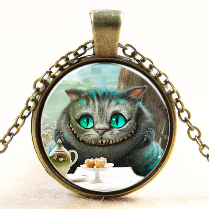 Alice in Wonderland Cheshire cat glass dome art photo pendant necklace jewelry