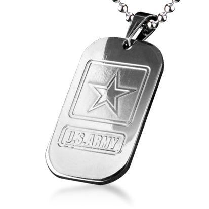 Bahamut U.S Army Dog Tag Pendant Titanium Steel Necklace