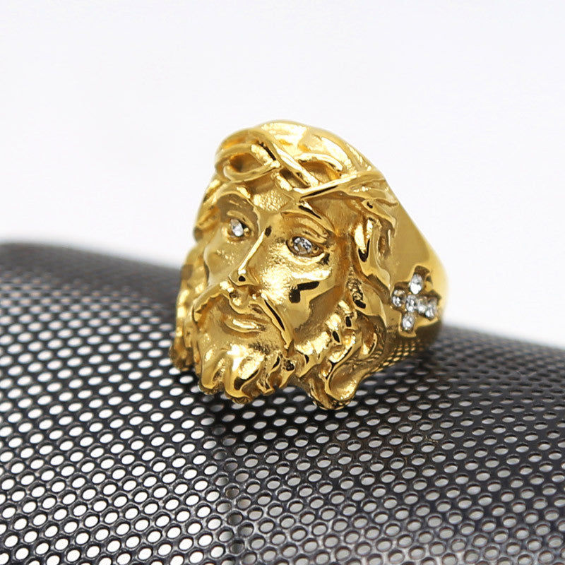 Jesus piece ring Hiphop Rock 18K Gold plated Men ring