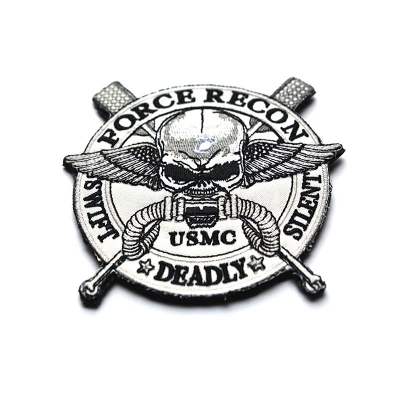 USMC Tactical Patch Embroidered 3D Patches FORCE RECON SILENT DEADLY SWIFT Badge