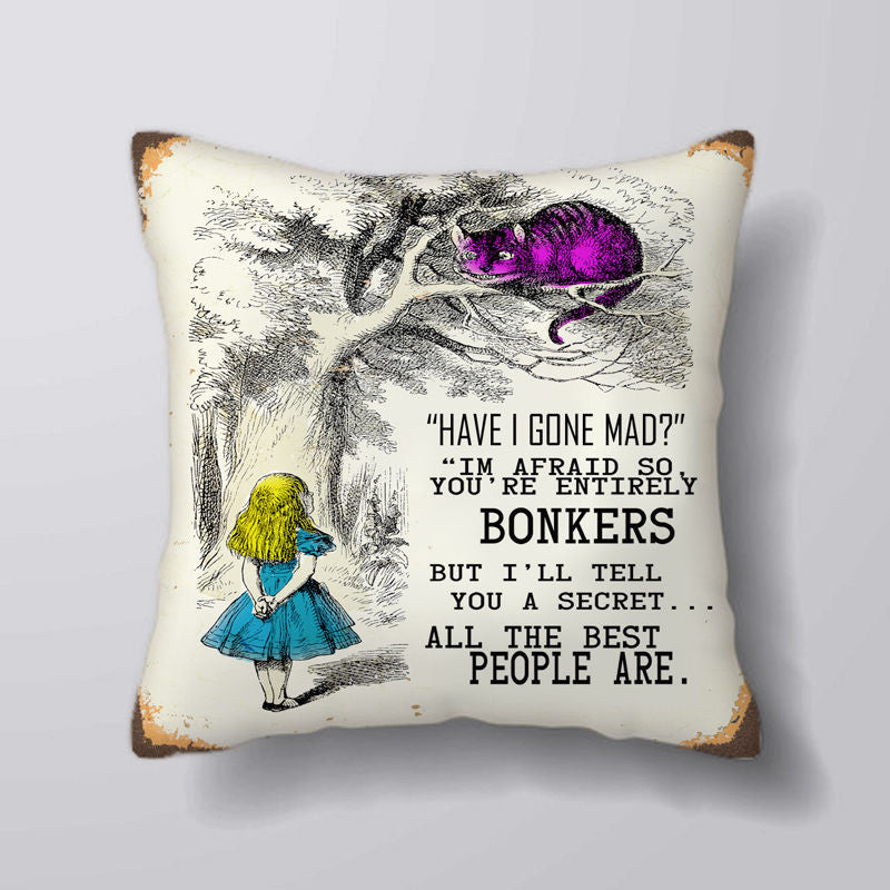 2 Sides alice in wonderland through the looking glass Square Pillowcase Soft Zippered Throw Pillow Cover