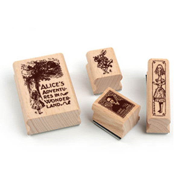 Alice Adventures in Wonderland Iron Box Set For DIY Decoration Collection Children Gift Wooden Stamp 4 Pcs