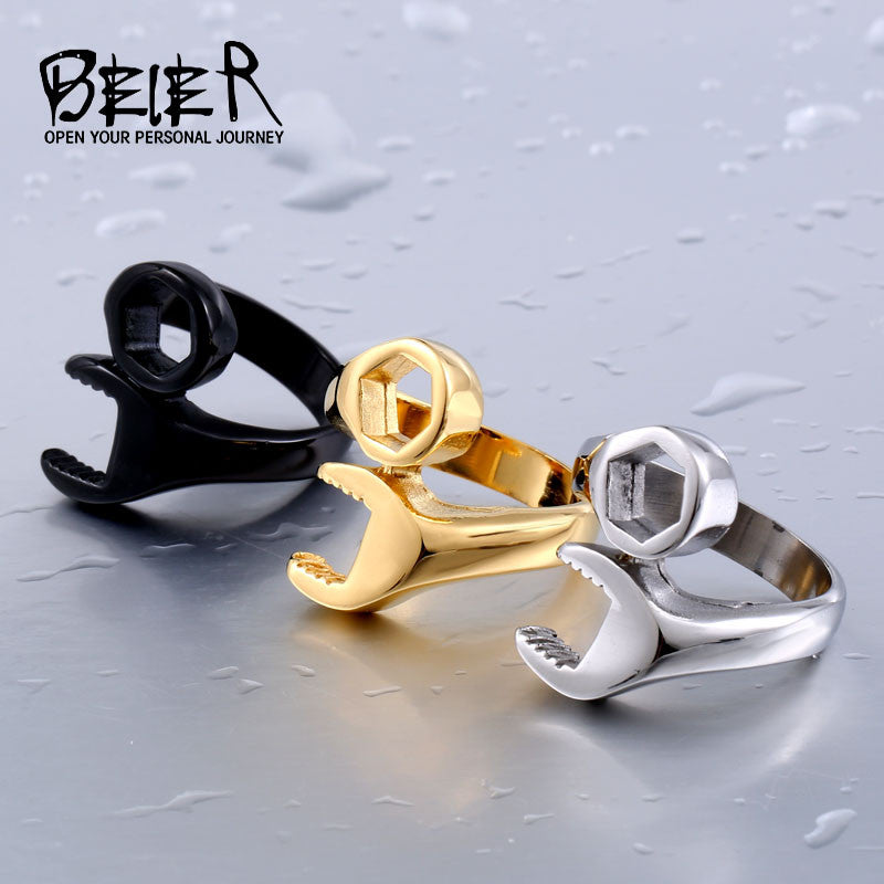 Stainless steel ring style punk biker wrench man ring