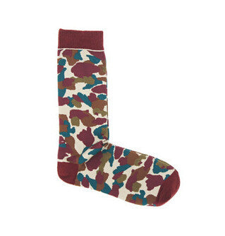 Camouflage printed Army green sock Tube cotton socks