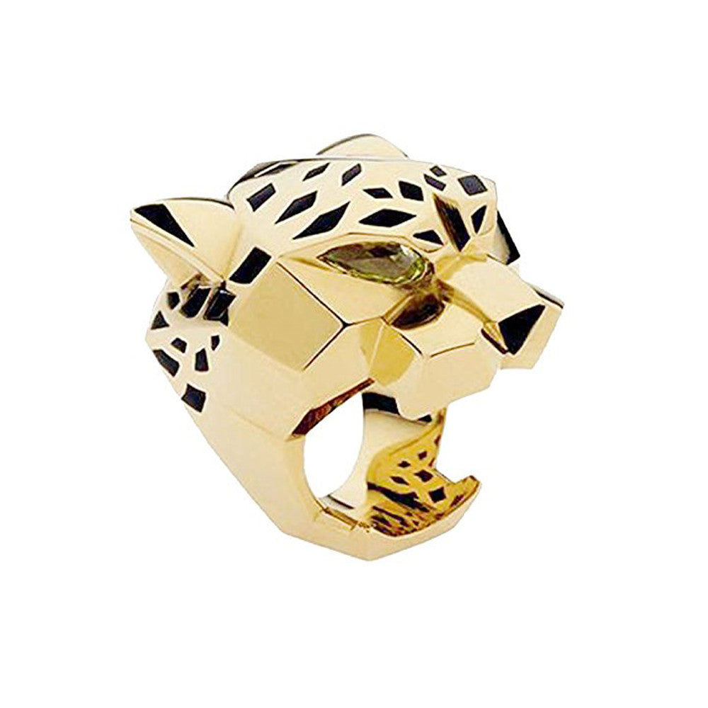 Gold Plating Leopard Man Woman Cocktail Statement Ring Green Zircon Eyes