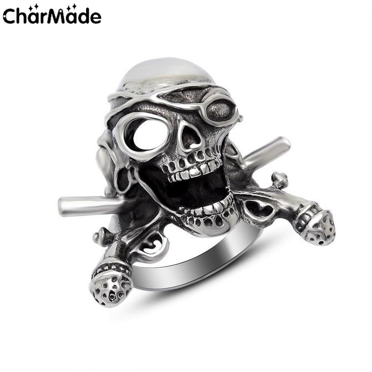 Vintage Cross gun Pirate Skull Mens Ring