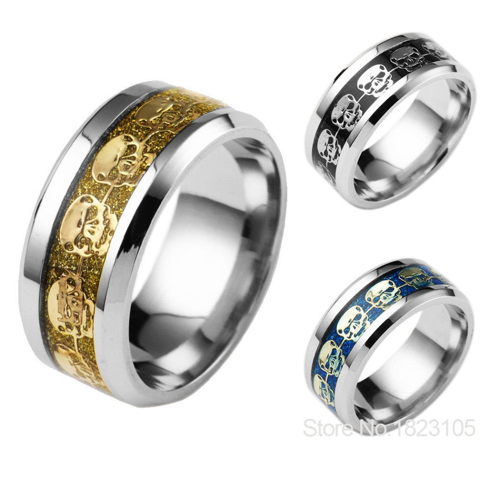 Mens Jewelry Never Fade Stainless Steel Skull Ring Gold Filled Blue Black Skeleton Pattern