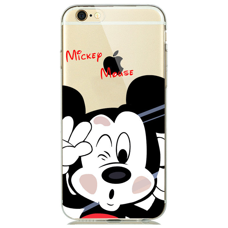 Disney Rubber Silicone Cover for iphone 5s 6 6s Plus Cute Mickey Minnie Mouse Donald Daisy Duck Case