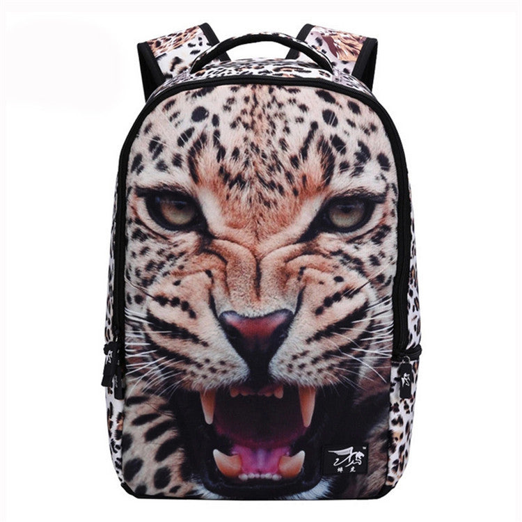 3D Animal Felt Printing Backpack Men's Backpack Crazy Lion Tiger