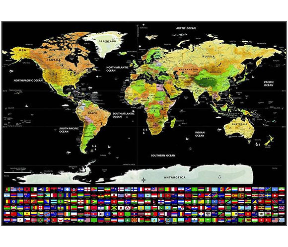 NEW! Deluxe Scratch Off Map With Flags Travel Poster