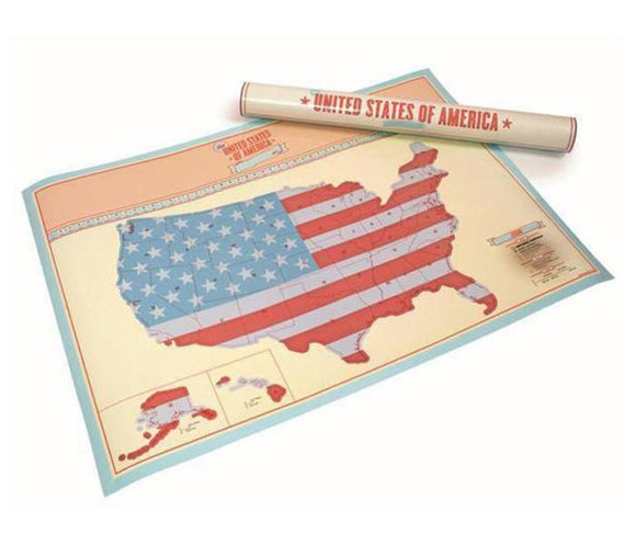 New! USA Scratch Map Travel Poster (33 x 23.2 inch)