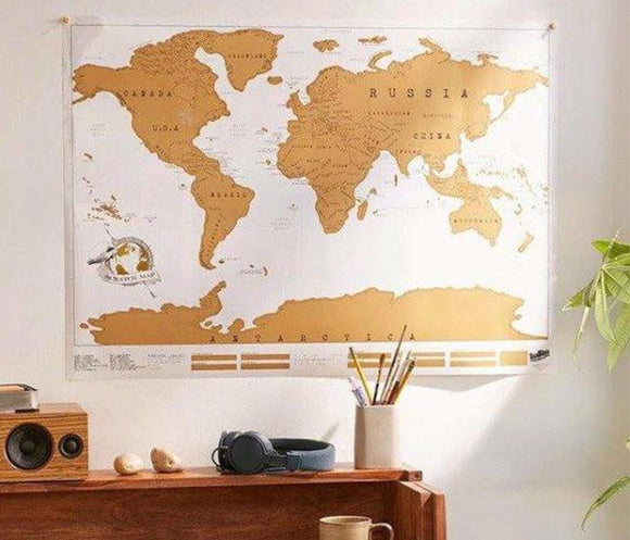 White Scratch Off Map Travel Poster