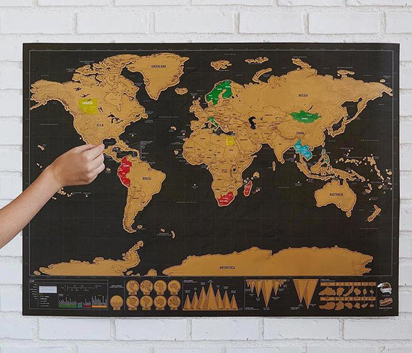 Deluxe Scratch Off Map Travel Poster (Standard) 16.5 x 11.6 inch