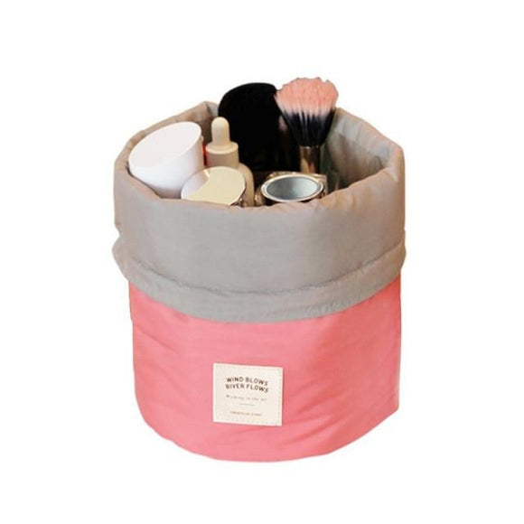 Barrel Shaped Toiletry And Cosmetic Organizer Nylon Bag