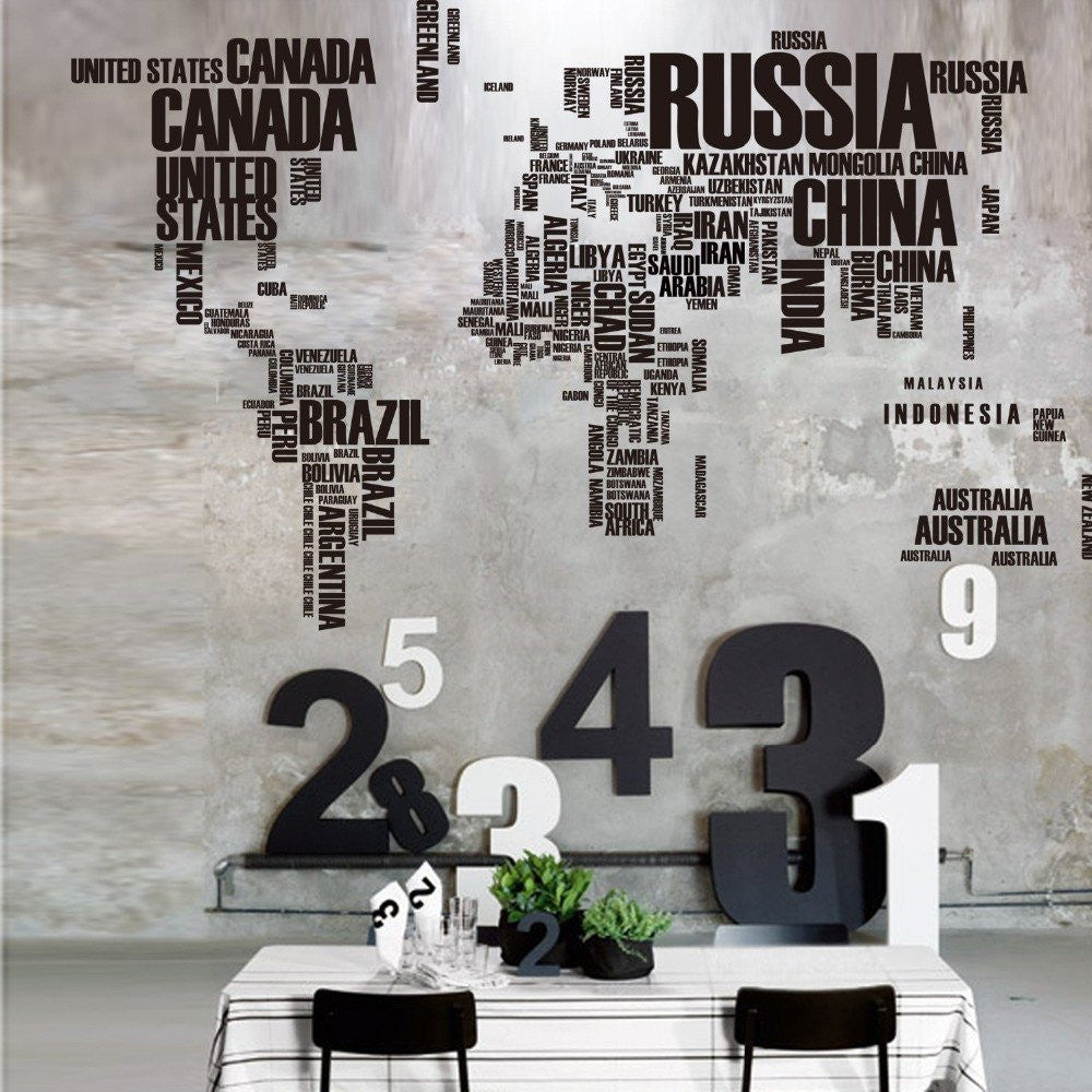Modern letter world map vinyl wall stickers travel nuts modern letter world map vinyl wall stickers amipublicfo Image collections