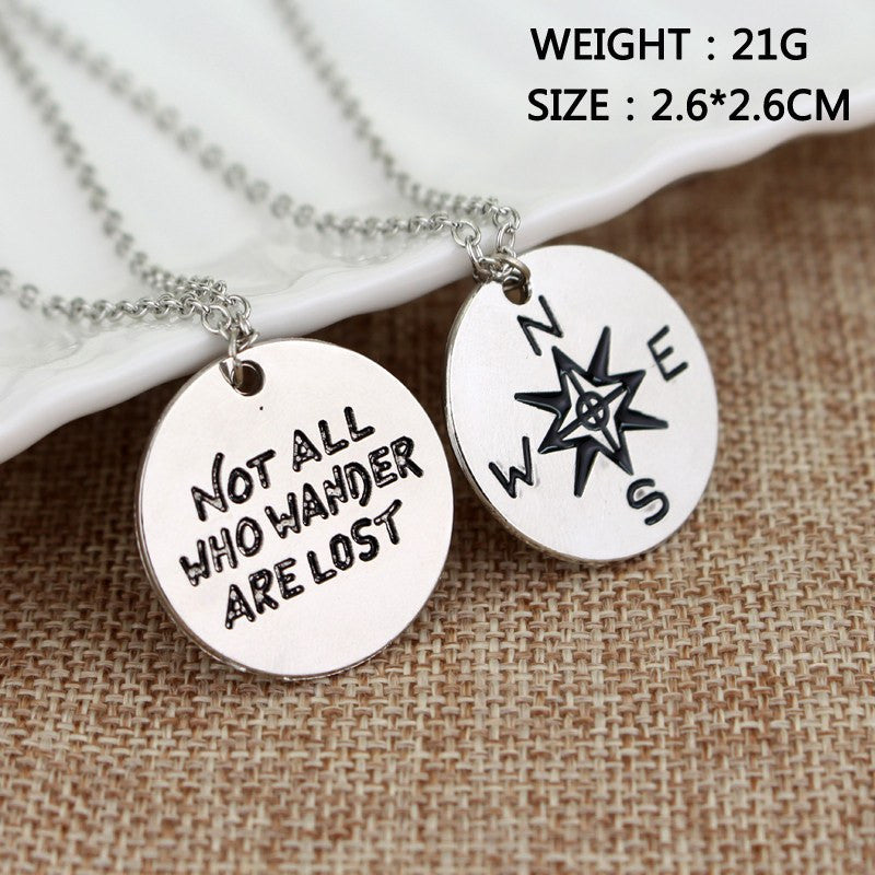 New Wanderlust Handstamp Cute Couple Necklace Alloy ...