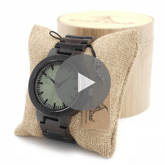 Ebony Wood Watches For Men With Gift Box