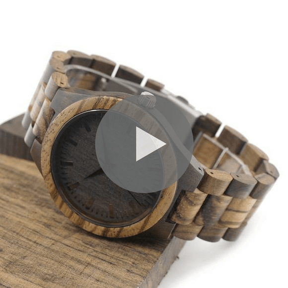 Round Vintage Zebra Wood with Bamboo Strap for Men