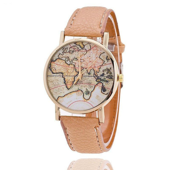Women Leather Strap World Map Quartz Watch (3 Variants)
