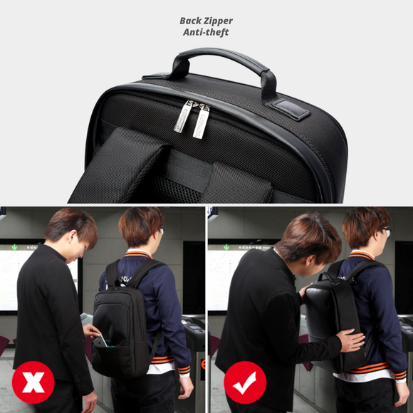 Anti-Theft Leather Waterproof Hidden Zipped Multifunctional Backpack with USB
