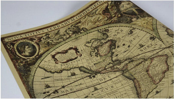 Limited Edition! Antique Nautical Ocean Sea Map on Kraft Paper Poster (70 x 51 cm)