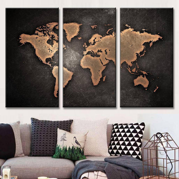 Classic Black World Map Painting On Canvas