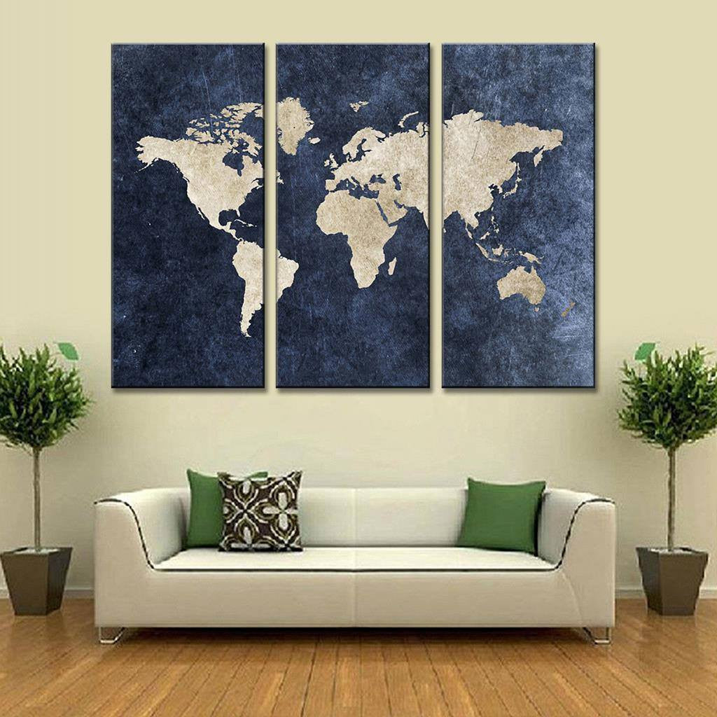 Modern Navy Blue World Map Canvas Painting For Room Decor