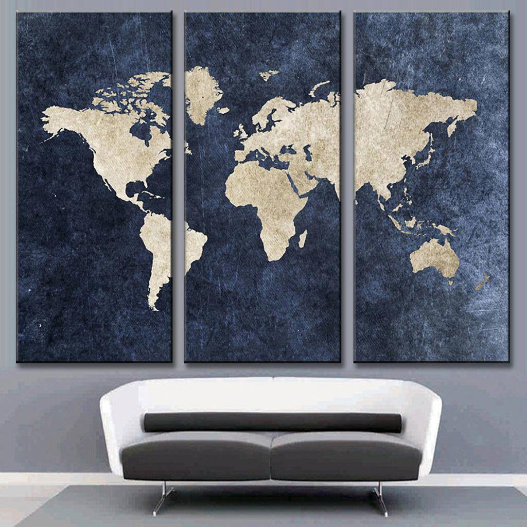 Modern Navy Blue World Map Canvas Painting For Room Decor Travel - World map canvas