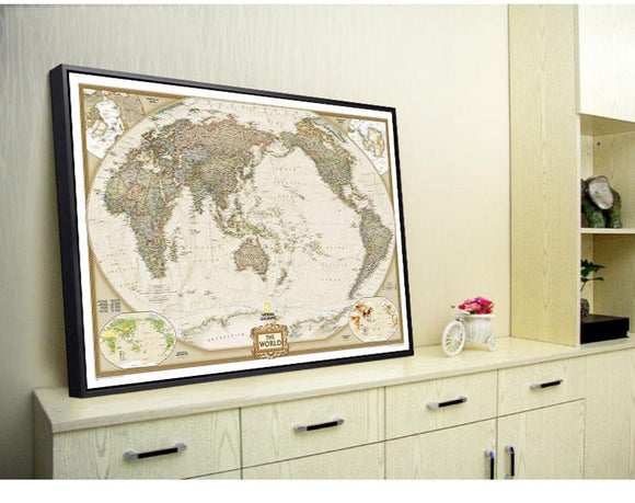 Antique Vintage World Map On Kraft Paper (73 cm x 48 cm)