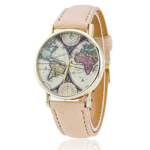 Women Leather Strap World Map Quartz Watch (5 Variants)