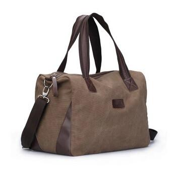 Vintage Style Canvas Large Travel Duffle Bag with Shoulder Strap