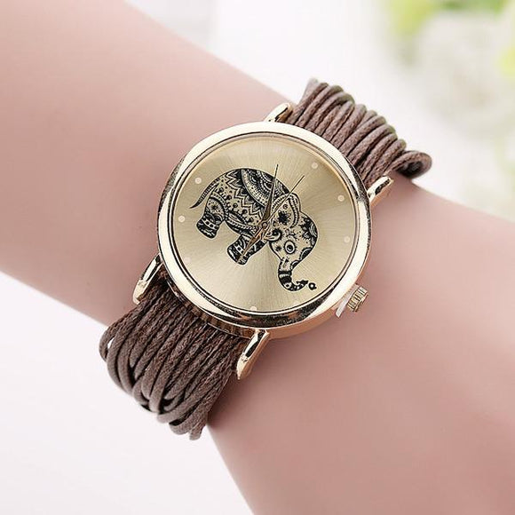 Women Leather Bracelet Elephant Wrist Watch
