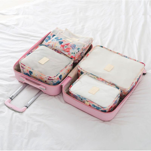Floral Design 6 PC Set of Packing Cube Travel Organizer