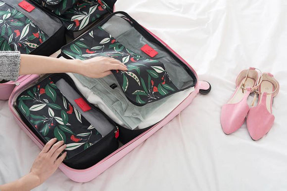 Leaf Patterned 6 PC Set of Packing Cube Travel Organizer
