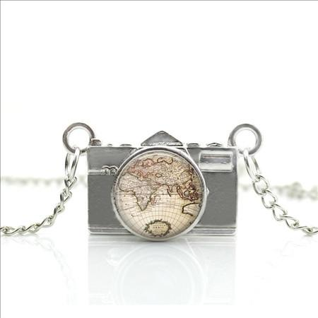 New mini globe camera earth world map pendant necklace travel nuts mini globe camera earth world map pendant necklace gumiabroncs Image collections