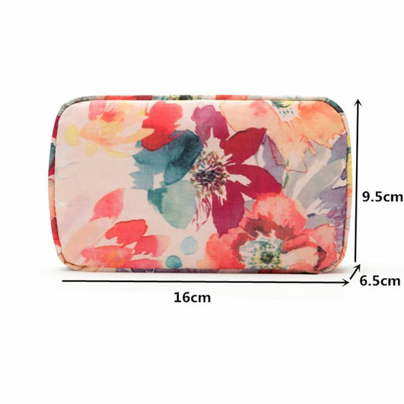 Floral Design Mini Makeup Pouch Case