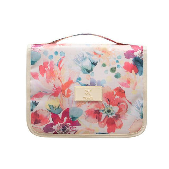 Floral Design Hanging Toiletry Cosmetic Organizer Bag