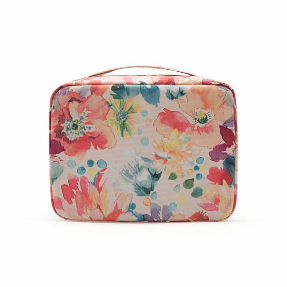 Floral Design Travel Cosmetic Toiletry And Makeup Organizer