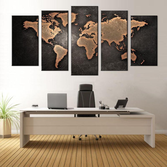 5 Pcs/Set Abstract Black World Map Wall Art