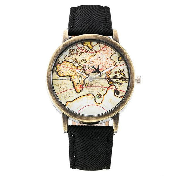 Global Plane World Map Denim Band Women Wristwatch