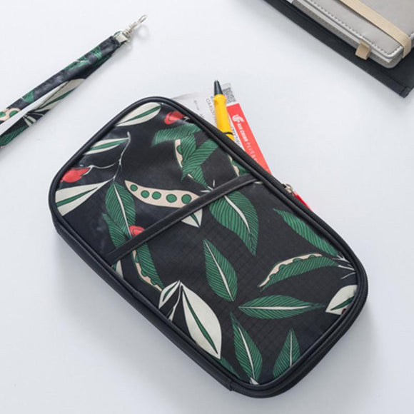 Multifunctional Leaf Printed Causal Passport Holder