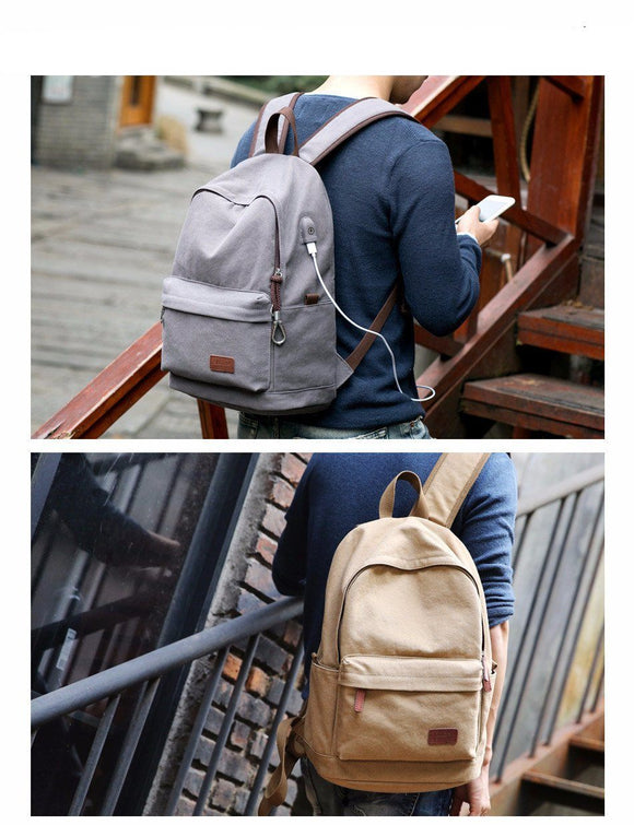NEW! Vintage Canvas Backpack for Laptop with USB Charging Port