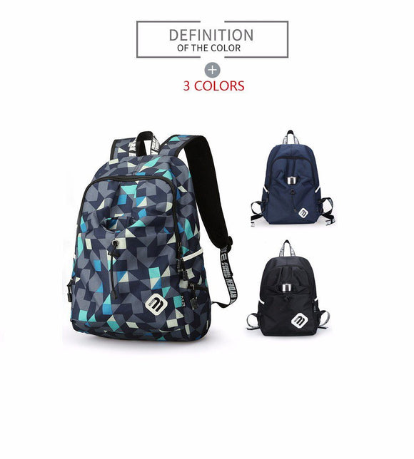 Multicolor Waterproof Nylon Laptop Travel Backpack with USB Charging Port