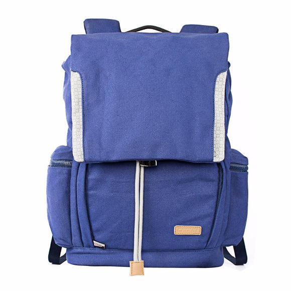Dark Blue Waterproof Canvas DSLR Backpack