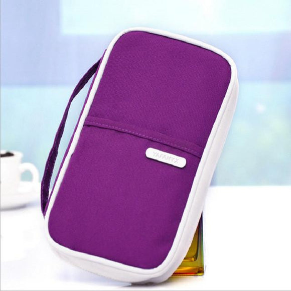 Zip Canvas Multifunctional Passport and Card Organizer Bag
