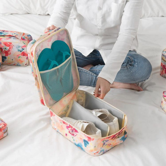 Floral Design Portable Shoe Organizer Bag