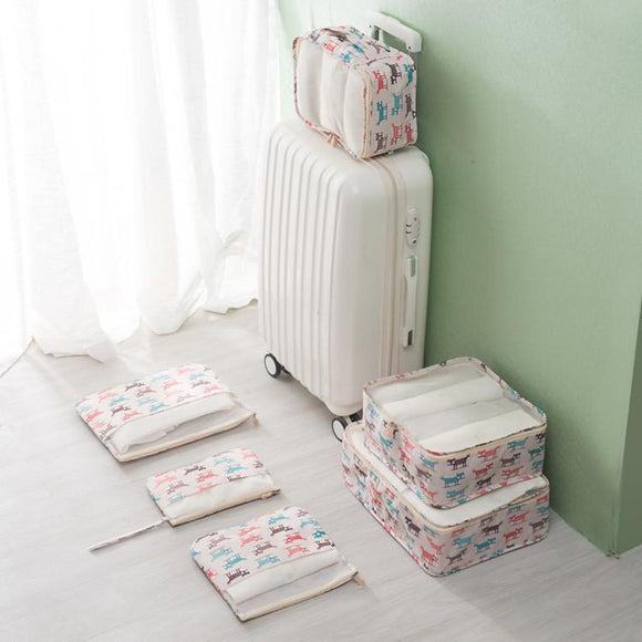 Cartoon Style 6 PC Cube Packing Organizer For Shoes, Clothes And Accessories