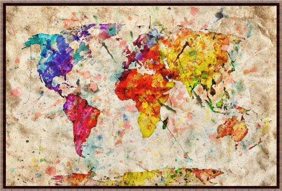 New! Colourful Vintage World Map Wall Sticker
